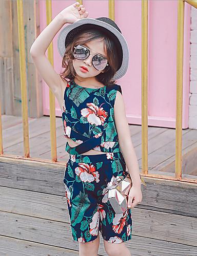f9309852624db فتيات مجموعات سادة طباعة كاجوال يومي قطن رايون صيف بدون أكمام مجموعة ملابس  5776882 2019 –  16.95