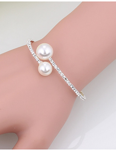 cheap Trendy Jewelry-Women's Cuff Bracelet Tennis Bracelet Fashion Pearl Bracelet Jewelry Gold / White For Christmas Gifts Wedding Party Special Occasion Birthday Engagement / Valentine