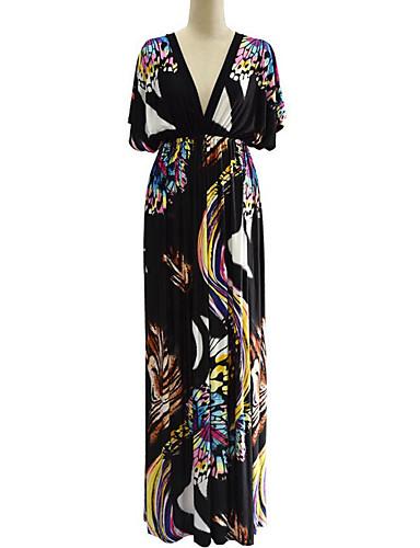 levne Maxi šaty-Dámské Větší velikosti Cikánský Netopýří rukávy Swing Šaty - Geometrický, Volná záda Tisk Maxi Hluboké V
