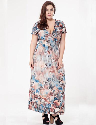 423bc32a9dd Women s Plus Size Boho Maxi Loose Dress Print Deep V Summer Purple Fuchsia Light  Blue XXXXL XXXXXL XXXXXXL  05835914