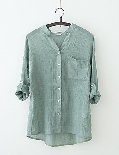 billige Bluser-V-hals Bluse Dame - Ensfarget Vintage Ut på byen Hvit