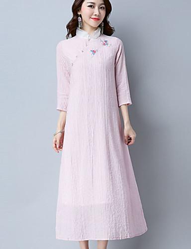 957d43f4cb Linia A Luźna Sukienka Damskie Codzienne Vintage Prosta Jendolity kolor  Haft