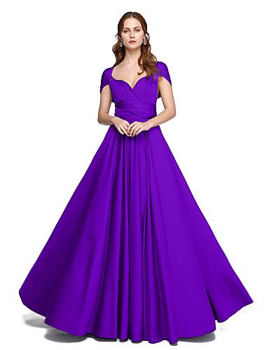billige Brudepikekjoler-Produktprøve A-linje / Ballkjole stropper Gulvlang Jersey Brudepikekjole med Kryssdrapering / Plissert av LAN TING BRIDE® / Konvertibel kjole