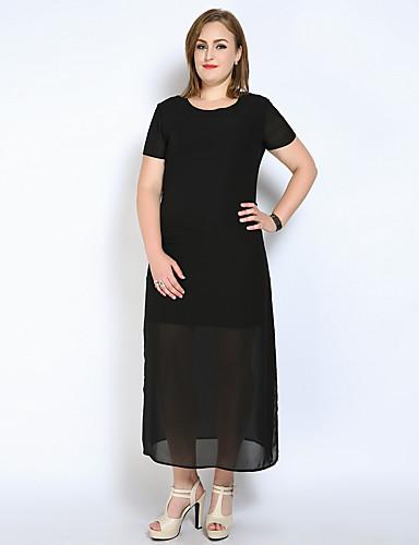 levne Šaty velkých velikostí-Dámské Větší velikosti Dovolená Shift / Tričko / Tunika Šaty - Jednobarevné, Rozparek Maxi
