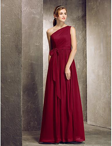 cheap Bridesmaid Dresses-Sheath / Column One Shoulder Floor Length Chiffon Bridesmaid Dress with Side Draping