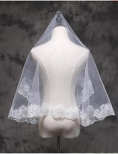 رخيصةأون طرحات الزفاف-One-tier Lace Applique Edge الحجاب الزفاف Elbow Veils / Fingertip Veils مع زينة دانتيل / تول / كلاسيكي