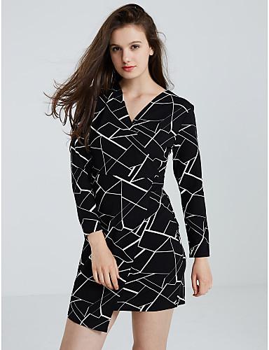 [$23.75] Women\'s Plus Size Going out Street chic Sheath Dress - Geometric V  Neck Fall Black M L XL XXL
