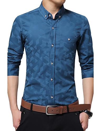 preiswerte Formelle Hemden-Herrn Patchwork / Jacquard - Geschäftlich Arbeit Baumwolle Hemd Marineblau / Langarm