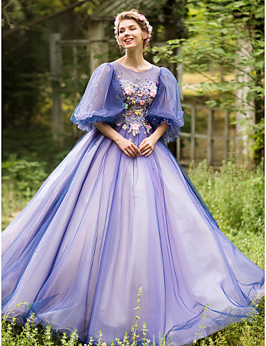 cheap Evening Dresses-Ball Gown Vintage Inspired Formal Evening Dress Illusion Neck Half Sleeve Floor Length Tulle with Beading Appliques Flower 2020