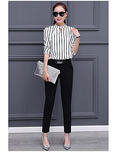 billige Topper til damer-Skjorte Dame - Stripet Fritid Arbeid Hvit / Vår