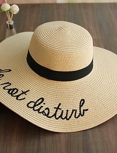 Per donna Estate Poliestere Paglia Romantico Casual Cappello di paglia  Cappello da sole 0b830bd2e5aa