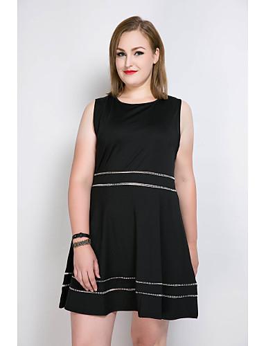 voordelige Grote maten jurken-Dames Grote maten Katoen A-lijn / Ruimvallend / Skater Jurk - Kleurenblok, Kwastje Tot de knie
