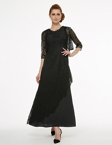 voordelige Wrap Dresses-A-lijn Met sieraad Tot de enkel Kant Bruidsmoederjurken met Kant / Plooien door LAN TING BRIDE® / See Through