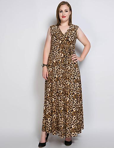 levne Maxi šaty-Dámské Větší velikosti Bavlna Swing Šaty - Jednobarevné / Leopard Maxi Do V