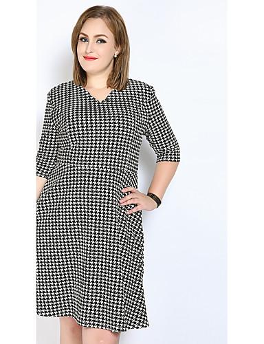 levne Šaty velkých velikostí-Dámské Větší velikosti Vintage Bavlna A Line / Shift / Pouzdro Šaty - Pepito Midi Do V
