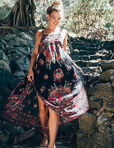 voordelige Maxi-jurken-Dames Grote maten Uitgaan Strand Chinoiserie Wijd uitlopend Jurk - Bloemen, Blote rug Bandje Maxi