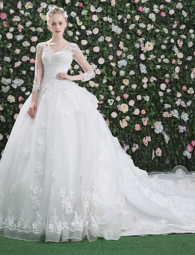 cheap Wedding Dresses-Ball Gown V Neck Cathedral Train Lace Over Tulle Long Sleeve Glamorous See-Through / Illusion Sleeve Wedding Dresses with Beading / Sequin / Appliques 2020