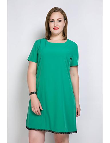 levne Šaty velkých velikostí-Dámské Větší velikosti Dovolená Volné / Tričko / Tunika Šaty - Jednobarevné / Barevné bloky, Třásně Délka ke kolenům