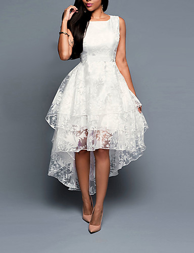 preiswerte Damen Kleider-Damen Übergrössen A-Linie Kleid Solide Asymmetrisch Weiß