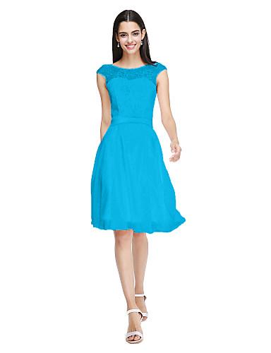billige Brudepikekjoler-A-linje Besmykket Knelang Chiffon / Livstykke i blonder Brudepikekjole med Sløyfe(r) / Belte / bånd av LAN TING BRIDE® / Åpen rygg