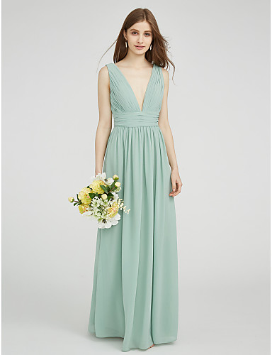 preiswerte Grüner Glamour-Eng anliegend V-Ausschnitt Boden-Länge Chiffon Brautjungfernkleid mit Seitlich drapiert / Gerafft durch LAN TING BRIDE®