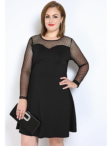 levne Šaty velkých velikostí-Dámské Větší velikosti A Line / Shift / Tričko Šaty - Barevné bloky, Síťka Délka ke kolenům