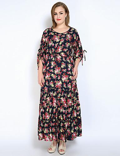 levne Maxi šaty-Dámské Větší velikosti Dovolená Vintage / Sofistikované Bavlna Flare rukáv Volné / Swing Šaty - Květinový, Volány / Nabírané šaty Maxi
