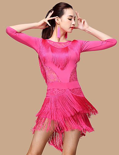 cheap Latin Dancewear-Latin Dance Dress Lace Tassel Women's Performance 3/4 Length Sleeve High Lace Milk Fiber Polyester