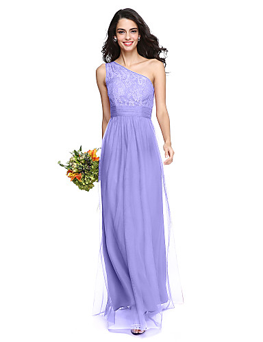 cheap Bridesmaid Dresses-Sheath / Column One Shoulder Floor Length Lace / Tulle Bridesmaid Dress with Ruched by LAN TING BRIDE®