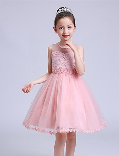 91912aeb518 Ball Gown Short   Mini Flower Girl Dress - Lace   Satin   Tulle Sleeveless  Jewel Neck with Bow(s)   Buttons   Crystals by   Elegant 5791020 2019 –   54.99
