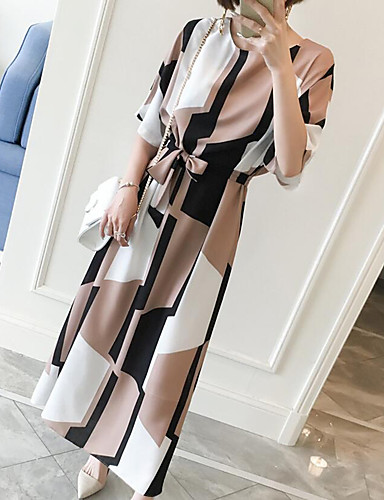 levne Pracovní šaty-Dámské Větší velikosti Práce Shift Šaty - Geometrický, Tisk Maxi Délka ke kolenům