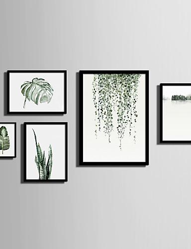 preiswerte Florale/botanische gerahmte Kunst-Gerahmtes Leinenbild Gerahmtes Set Landschaft Blumenmuster/Botanisch Wandkunst, PVC Stoff Mit Feld Haus Dekoration Rand Kunst Wohnzimmer