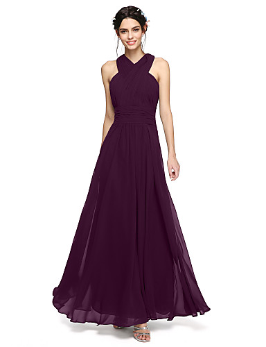 cheap Bridesmaid Dresses-A-Line Halter Y-Neck Floor Length Chiffon Bridesmaid Dress with Sash / Ribbon Ruched Criss Cross by LAN TING BRIDE®