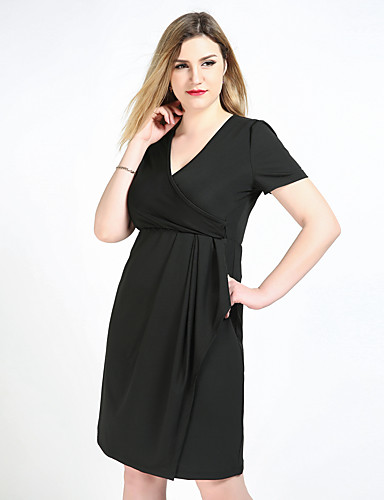 cheap Women's Dresses-Women's Plus Size Black Dress Vintage Party Daily Shift Sheath Tunic Solid Colored V Neck Ruched L XL