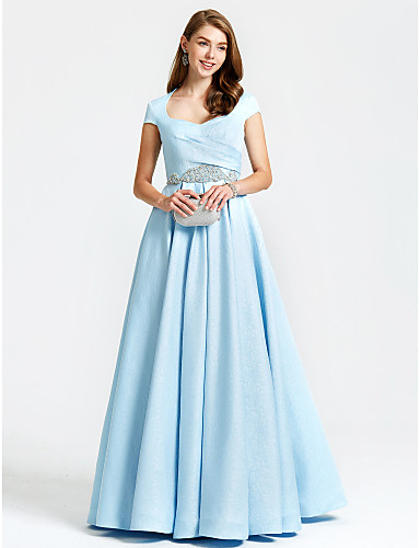 cheap Prom Dresses-A-Line Vintage Inspired Formal Evening Dress Queen Anne Short Sleeve Floor Length Satin with Pleats Beading Pocket 2020