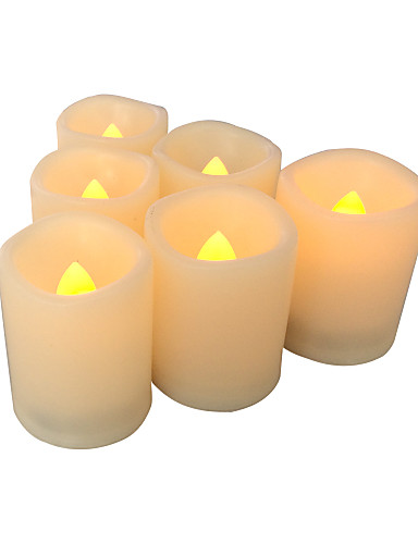 preiswerte Neue im Sortiment-6 Satz führte flammenlose batteriebetriebene flackernde Votivkerze mit Timer dekorative Teelichter für Halloween-Weihnachtshochzeits-Partyereignis-Hauptküchen-Dekorationsdekor-Versorgungsmaterial-Batt