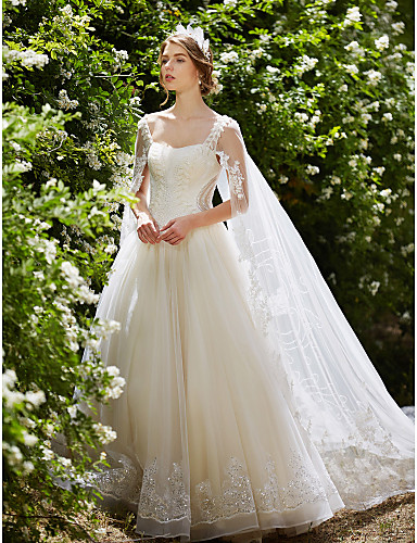 cheap Wedding Dresses-Ball Gown Wedding Dresses Square Neck Watteau Train Lace Over Tulle Regular Straps Sparkle & Shine Floral Lace with Crystal Beading Sequin 2020