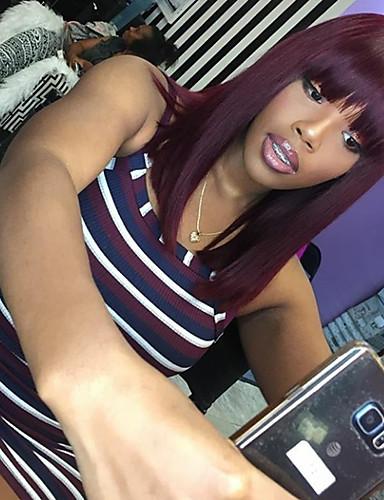 povoljno Perike s ljudskom kosom-Remy kosa Perika s prednjom čipkom bez ljepila Lace Front Perika Bob frizura stil Brazilska kosa Ravan kroj Perika 130% Gustoća kose s dječjom kosom Ombre Prirodna linija za kosu Afro-američka perika