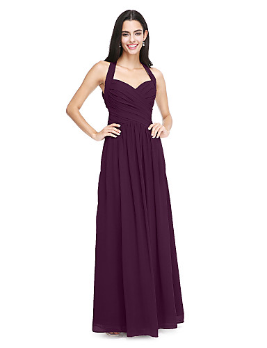 cheap Bridesmaid Dresses-A-Line Halter Neck Floor Length Chiffon Bridesmaid Dress with Side Draping / Criss Cross by LAN TING BRIDE®