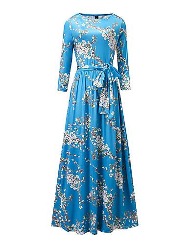 levne Maxi šaty-Dámské Větší velikosti Párty Dovolená Šik ven Sofistikované Pouzdro Šaty - Květinový Maxi Modrá