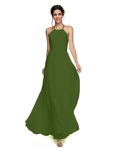 billige Brudepikekjoler-A-linje Besmykket Gulvlang Georgette Brudepikekjole med Drapert av LAN TING BRIDE® / Åpen rygg