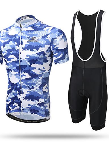 povoljno Odjeća za vožnju biciklom-XINTOWN Muškarci Kratkih rukava Biciklistička majica s kratkim tregericama - Mornarsko plava Svjetlosmeđ Svijetlo zelena Bicikl Biciklistička majica Bib Hulahopke Prozračnost Quick dry Ultraviolet