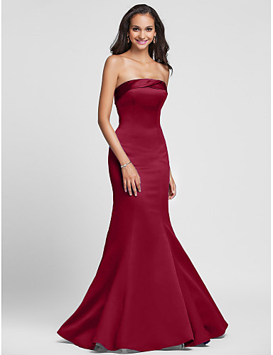 cheap Bridesmaid Dresses-Mermaid / Trumpet Strapless Floor Length Satin Bridesmaid Dress with Side Draping