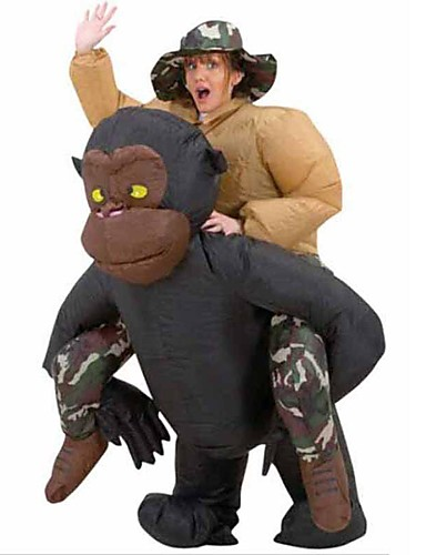 povoljno Maske i kostimi-Čimpanza Cosplay Nošnje Rekviziti za Noć vještica Povorka maski Muškarci Žene Filmski Cosplay Crn More Accessories Halloween Karneval Dječji dan Poliester