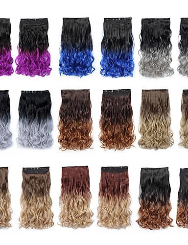 preiswerte Pflege & Haar-Febay Synthetische Perücken Wellen Synthetische Haare Haar-Verlängerung Mit Clip Ombre 1 Bundle Party Synthetik Farbverlauf Männlich Alltag