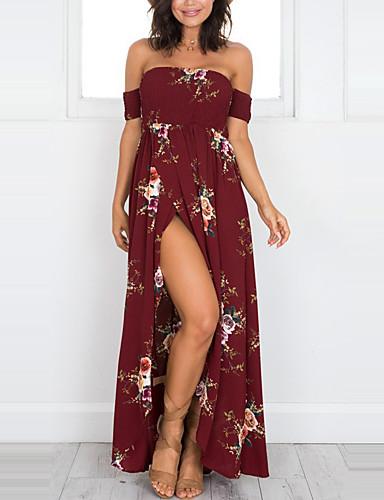 voordelige Maxi-jurken-Dames Feestdagen Strand Schede Jurk - Bloemen, Print Strapless Maxi / Schouderafhangend