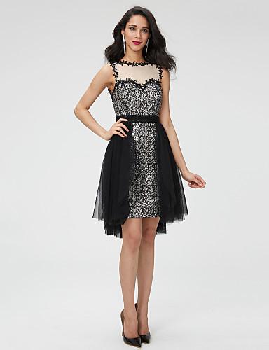 c048ffc22f0 Γραμμή Α Με Κόσμημα Ασύμμετρο Τούλι / Με πούλιες Μικρό Μαύρο Φόρεμα / Όμορφη  Πλάτη Κοκτέιλ Πάρτι Φόρεμα με Χάντρες / Ζώνη / Κορδέλα / Πλισέ με TS  Couture® ...