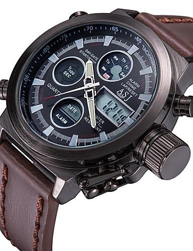 preiswerte ASJ®-ASJ Herrn Uhr Digitaluhr Japanisch digital Leder Braun 30 m Wasserdicht Kalender Chronograph Analog-Digital Luxus Weiß Schwarz / Zwei jahr / Fernbedienungskontrolle / leuchtend / LCD