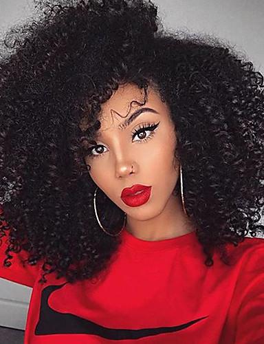 povoljno Perike s ljudskom kosom-Ljudska kosa Netretirana  ljudske kose 360 Frontalni Perika stil Brazilska kosa Kinky Curly Perika 180% Gustoća kose s dječjom kosom Prirodna linija za kosu Afro-američka perika Za crnkinje