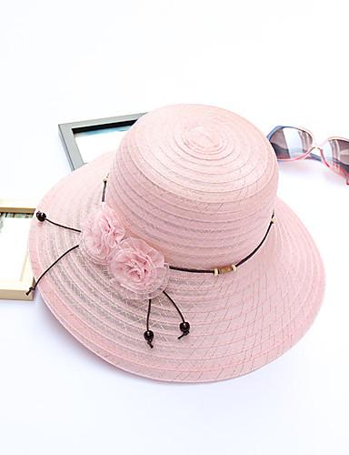 Mujer Primavera Otoño Verano Sombrero Flor Tejido Sombrero Playero Sombrero  de Paja af9e0fc2e99
